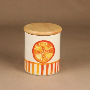 Arabia Orange jar with lid designer Minna Immonen