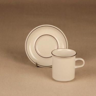 Arabia Fennica kahvikuppi ja lautaset, valkoinen, ruskea, suunnittelija Richard Lindh, raitakoriste kuva 2