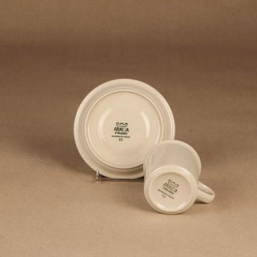 Arabia Fennica kahvikuppi ja lautaset, valkoinen, ruskea, suunnittelija Richard Lindh, raitakoriste kuva 3