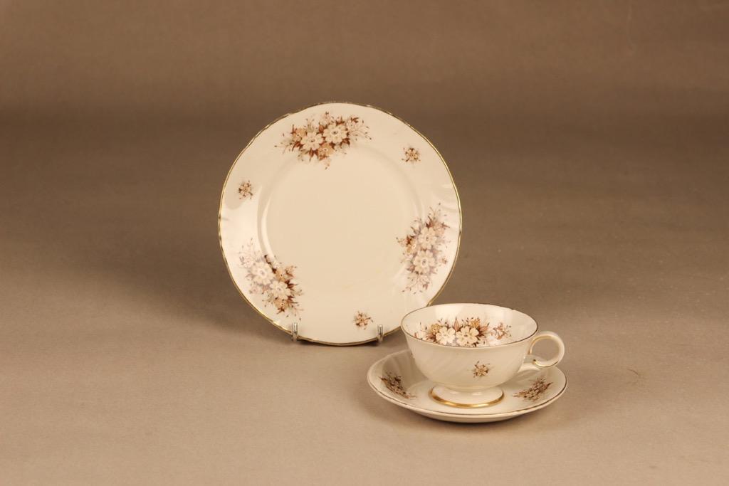 Arabia Raija kahvikuppi ja lautaset, suunnittelija Raija Uosikkinen, kukka