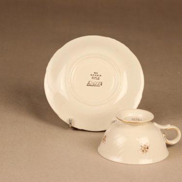 Arabia Raija kahvikuppi ja lautaset, suunnittelija Raija Uosikkinen, kukka kuva 4