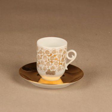 Arabia Mira kahvikuppi, kulta, suunnittelija Esteri Tomula, serikuva, kullattu