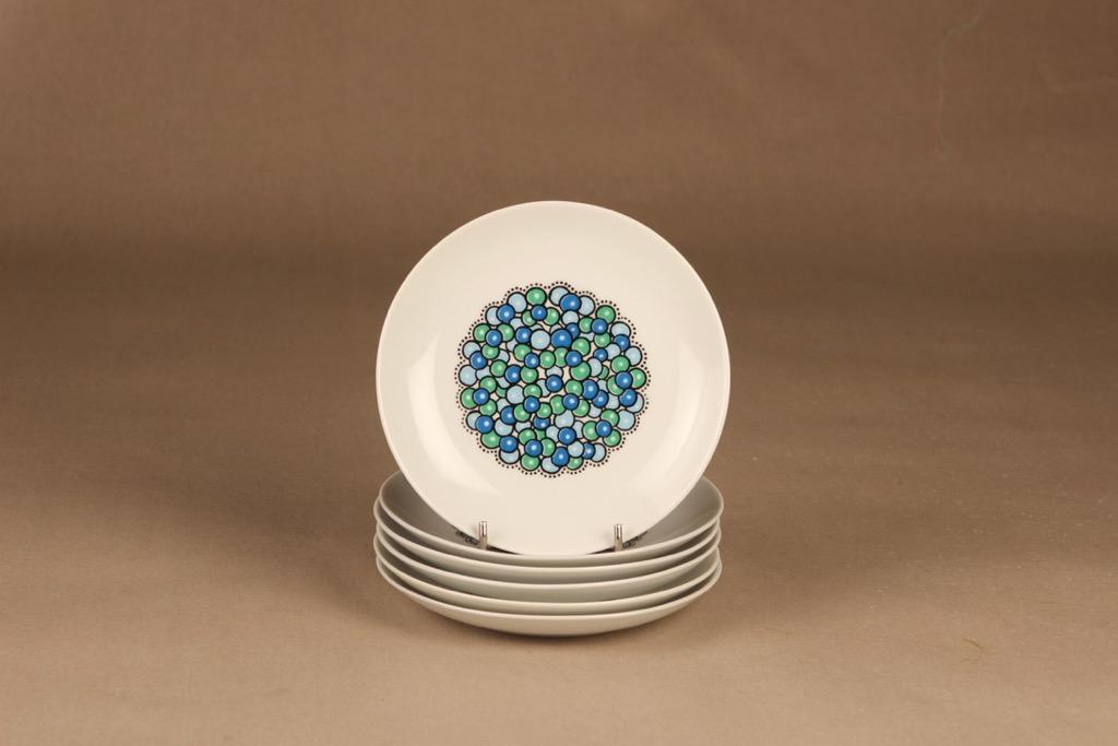 Arabia Marina leivoslautaset, sinivihreä, 6 kpl, suunnittelija Anja Jaatinen-Winquist, serikuva