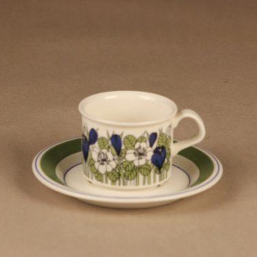 Arabia Krokus kahvikuppi, vihreä, suunnittelija Esteri Tomula, kukka