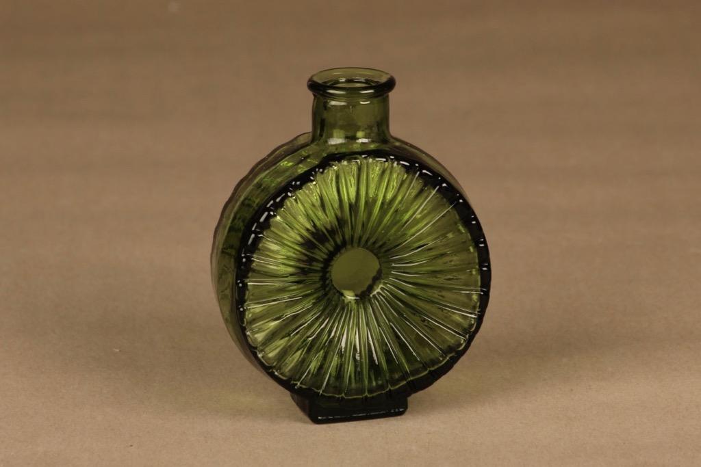 Riihimäen lasi Aurinkopullo decorative bottle green ¼  designer Helena Tynell