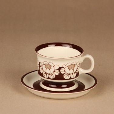 Arabia Katrilli kahvikuppi ja lautaset, ruskea, suunnittelija Esteri Tomula, kukka, serikuva kuva 2