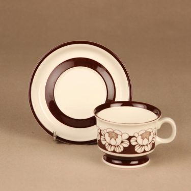 Arabia Katrilli kahvikuppi ja lautaset, ruskea, suunnittelija Esteri Tomula, kukka, serikuva kuva 3