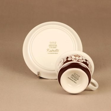 Arabia Katrilli kahvikuppi ja lautaset, ruskea, suunnittelija Esteri Tomula, kukka, serikuva kuva 4