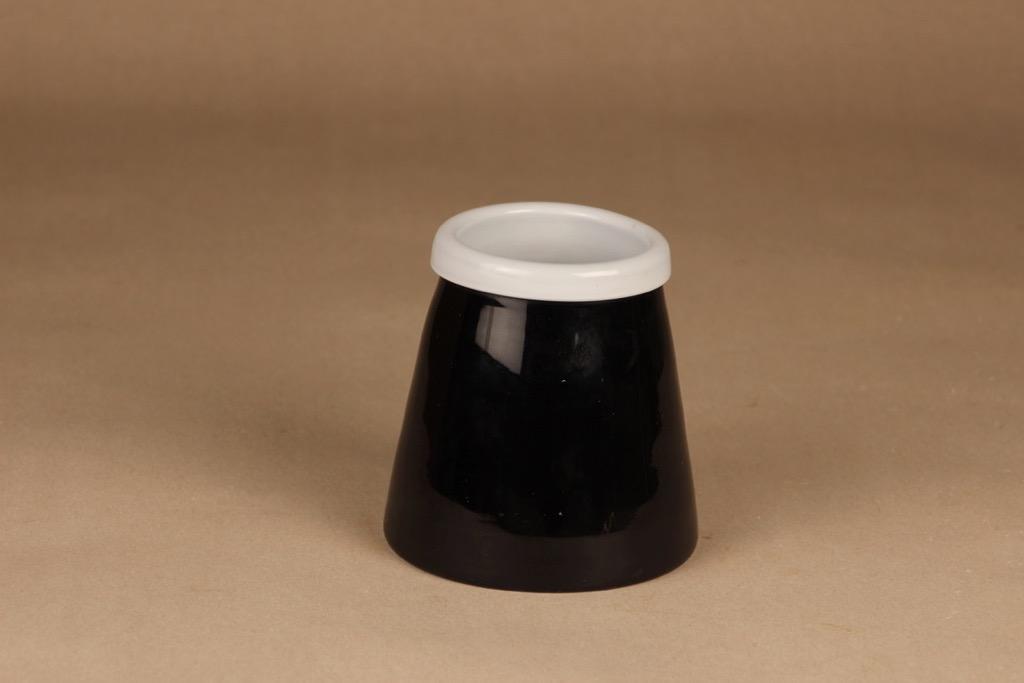 Riihimäen lasi Black and white maljakko/kulho designer Nanny Still