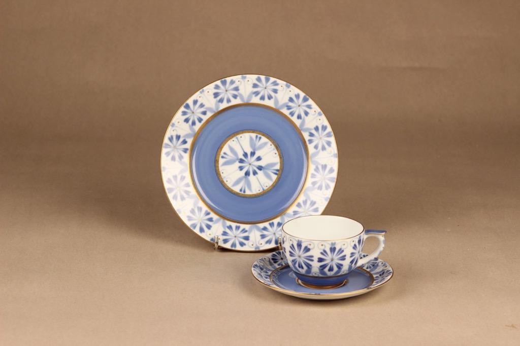 Arabia Sinikka coffee cup and plates, hand-painted