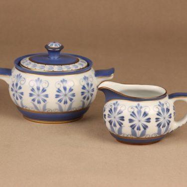 Arabia Sinikka sugar bowl and creamer, hand-painted
