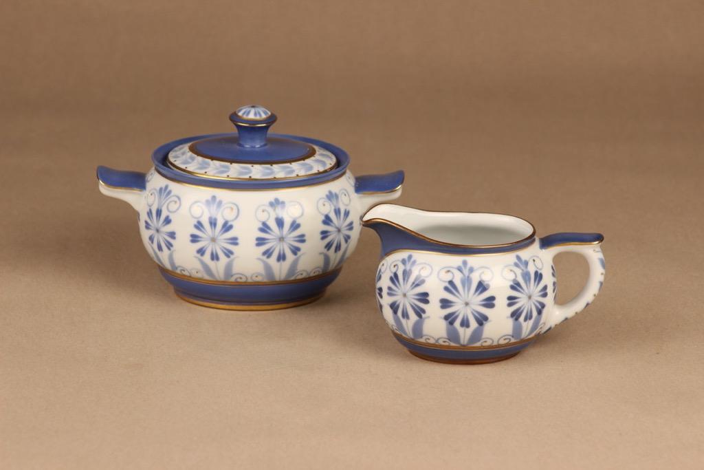 Arabia Sinikka sokerikko ja kermakko, käsinmaalattu, suunnittelija , käsinmaalattu