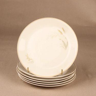 Arabia Tähkä lautanen, pieni, 6 kpl, suunnittelija Raija Uosikkinen, pieni, tähkä, heinä