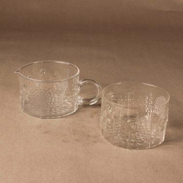 Nuutajärvi Flora sugar bowl and creamer designer Oiva Toikka