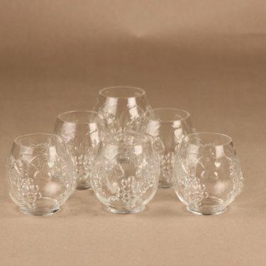 Kumela lasi, rupälekuviolla, 6 kpl, suunnittelija Sirkku Kumela-Lehtonen, rupälekuviolla, rypäle