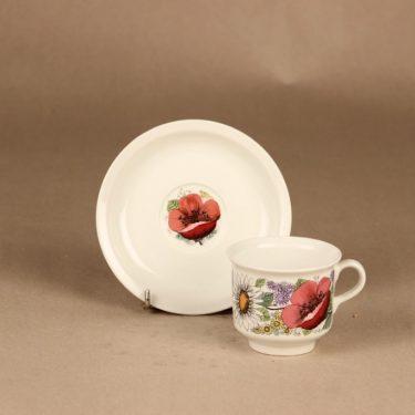 Arabia Valmu kahvikuppi ja lautaset(2), monivärinen, suunnittelija Esteri Tomula, kukka, serikuva kuva 2