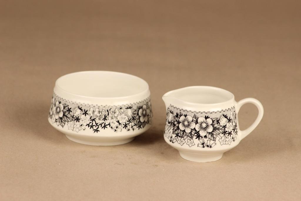 Arabia Talvikki sugar bowl and creamer designer Raija Uosikkinen