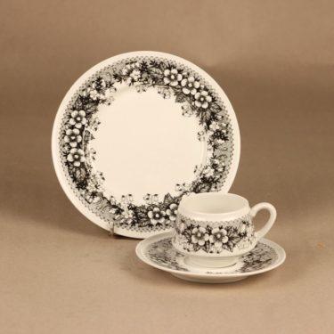 Arabia Talvikki coffee cup and plates(2) designer Raija Uosikkinen