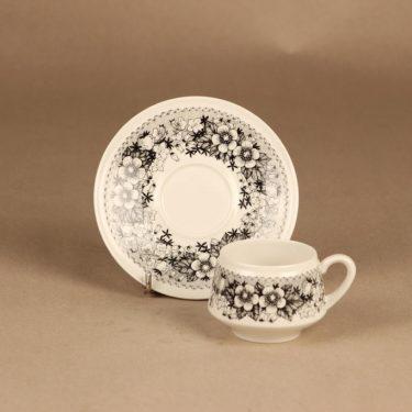 Arabia Talvikki kahvikuppi ja lautaset(2), mustavalkoinen, suunnittelija Raija Uosikkinen, serikuva kuva 2