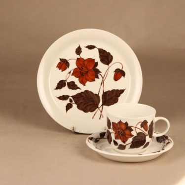 Arabia Tea for Two tea cup and plates(2), brown designer Gunvor Olin-Grönqvist