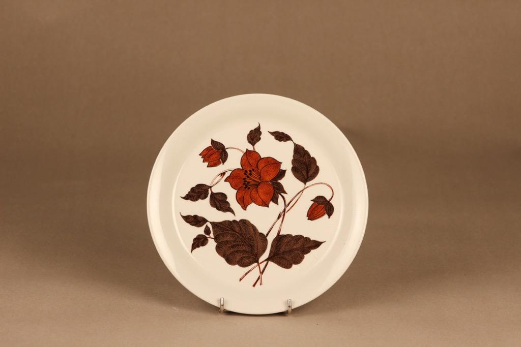 Arabia Tea for Two lautanen, ruskea, suunnittelija Gunvor Olin-Grönqvist, kukka