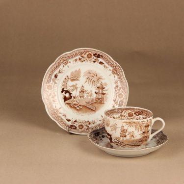 Arabia Singapore teekuppi ja lautaset(2), ruskea, suunnittelija , kuparipainokoriste