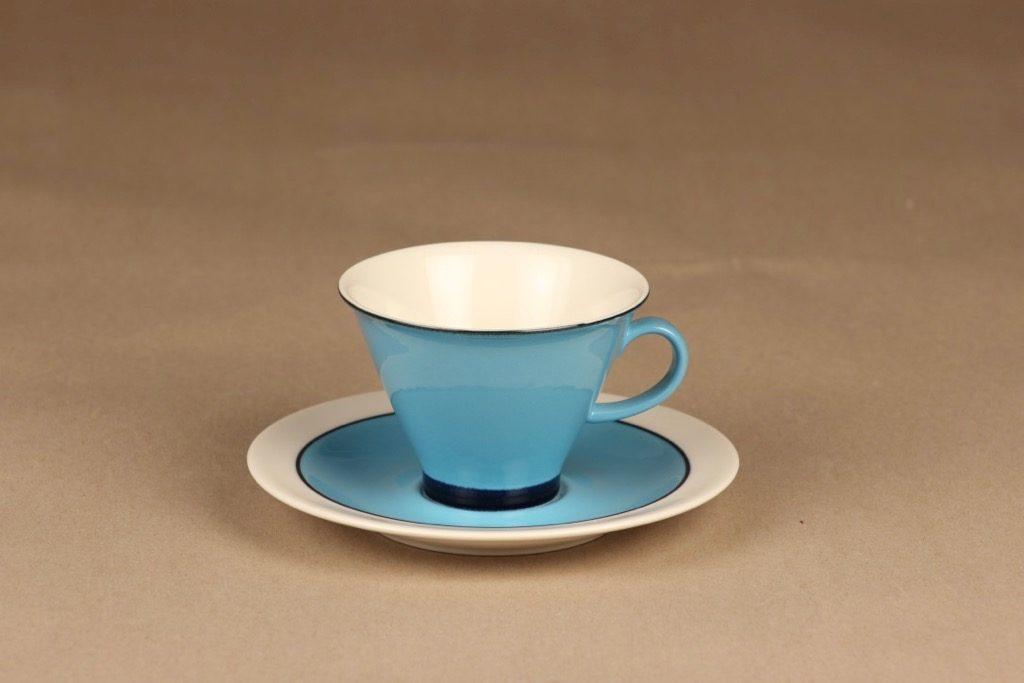 Arabia Harlekin kahvikuppi, turkoosi, suunnittelija Inkeri Leivo,