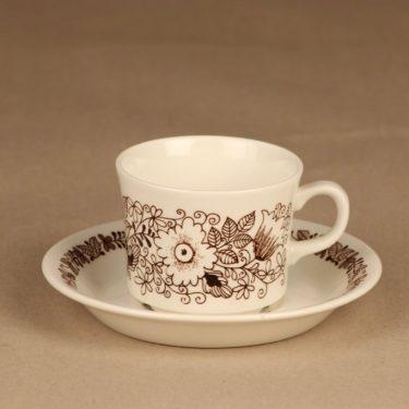 Arabia Tuula kahvikuppi, ruskea, suunnittelija Esteri Tomula, serikuva, kukka