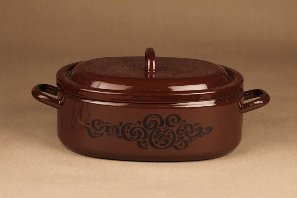 Arabia enamel pot with lid designer Anita Wangel