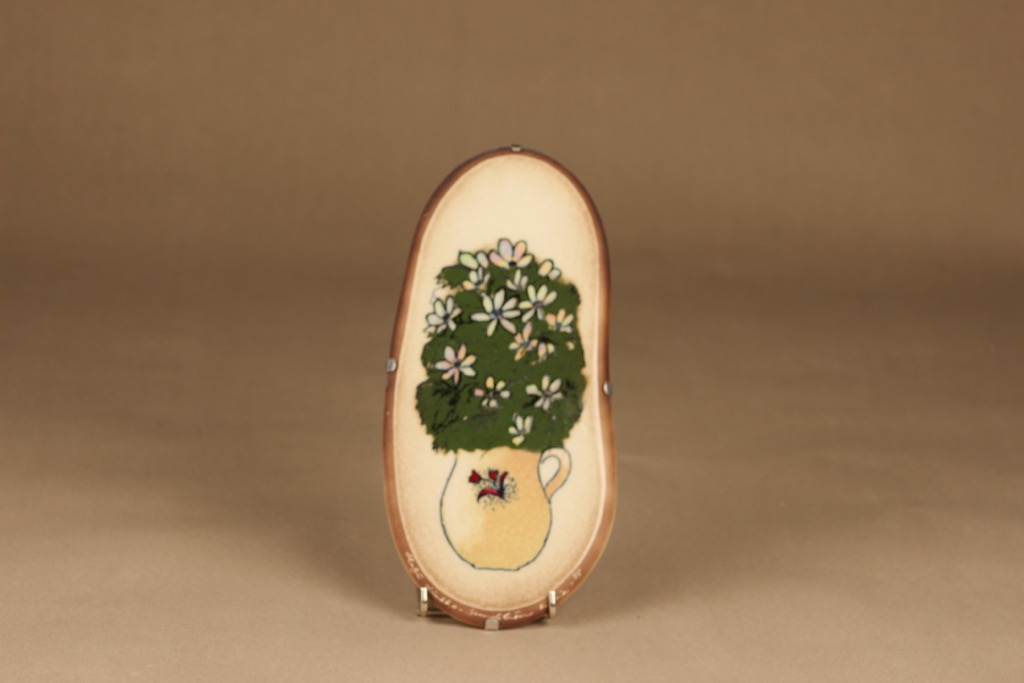 Arabia HLS wall plate wood anemone designer Heljä Liukko-Sundström