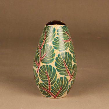 Kupittaan savi maljakko, käsinmaalattu, suunnittelija Gunnar Iso-Puonti, käsinmaalattu, kukka, signeerattu
