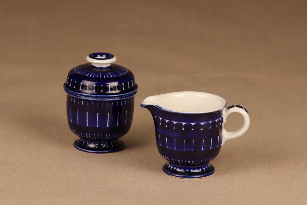 Arabia Valencia sugar bowl and creamer, hand-painted designer Ulla Procope