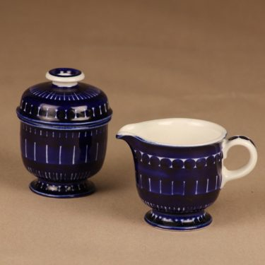 Arabia Valencia sugar bowl and creamer, hand-painted designer Ulla Procope