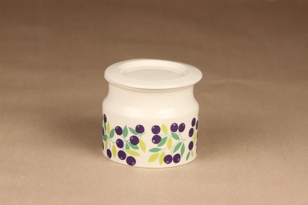 Arabia Pomona blueberry jar with lid designer Raija Uosikkinen