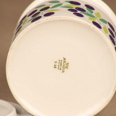 Arabia Pomona mustikka purnukka, kannellinen, suunnittelija Raija Uosikkinen, kannellinen, serikuva, marja, retro kuva 3