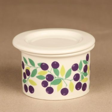 Arabia Pomona blueberry jar with lid designer Raija Uosikkinen