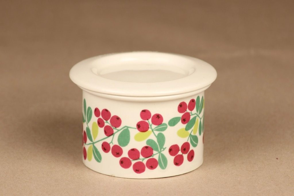 Arabia Pomona cowberry jar with lid designer Raija Uosikkinen