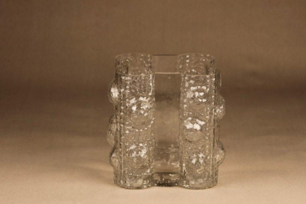 Riihimäen lasi Quadrifolia maljakko, kirkas, suunnittelija Nanny Still, retro, massiivinen