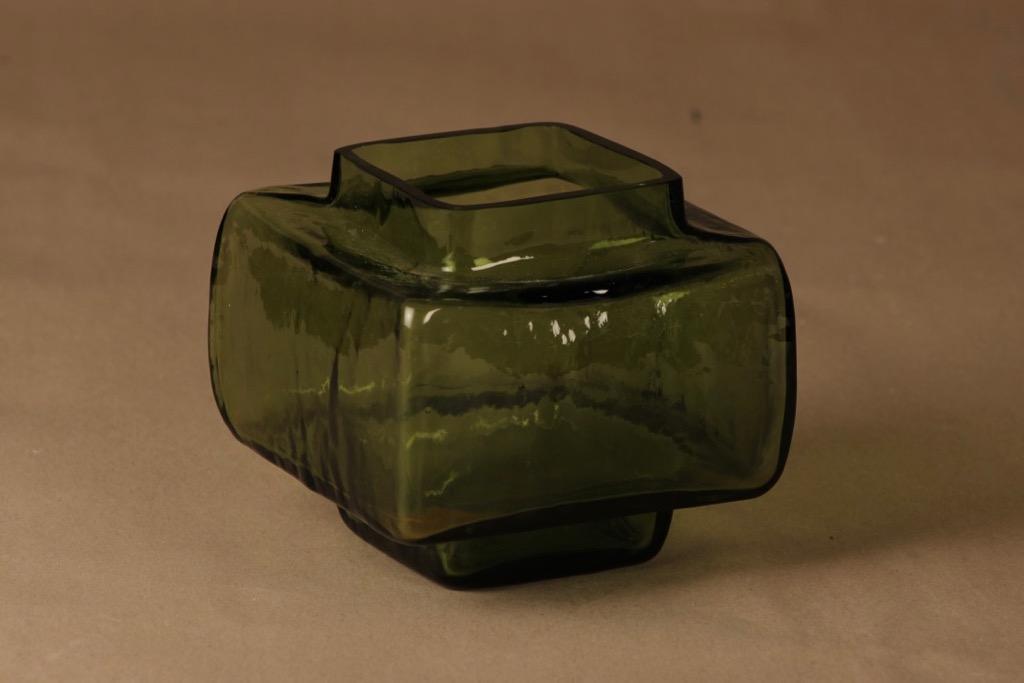 Riihimäen lasi Palkki maljakko, vihreä, suunnittelija Helena Tynell,