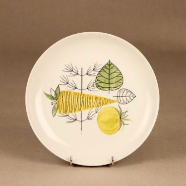Arabia Vegeta lautanen, käsinmaalattu, suunnittelija Esteri Tomula, käsinmaalattu, retro, vihannes