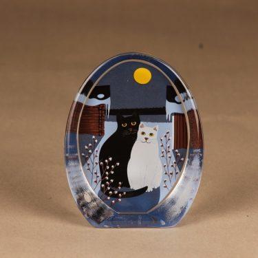 Iittala lasikortti, Kaksin kuutamolla, suunnittelija Martti Lehto, Kaksin kuutamolla, kissa, talvi, kuutamo