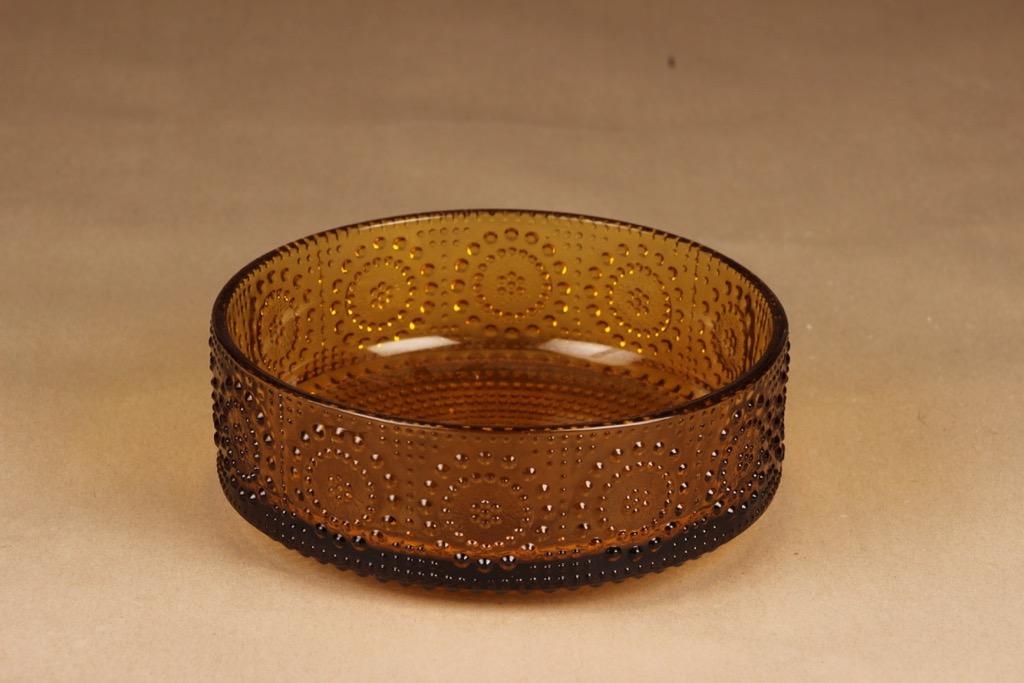 Riihimäen lasi Grapponia tarjoilukulho, amber, suunnittelija Nanny Still,