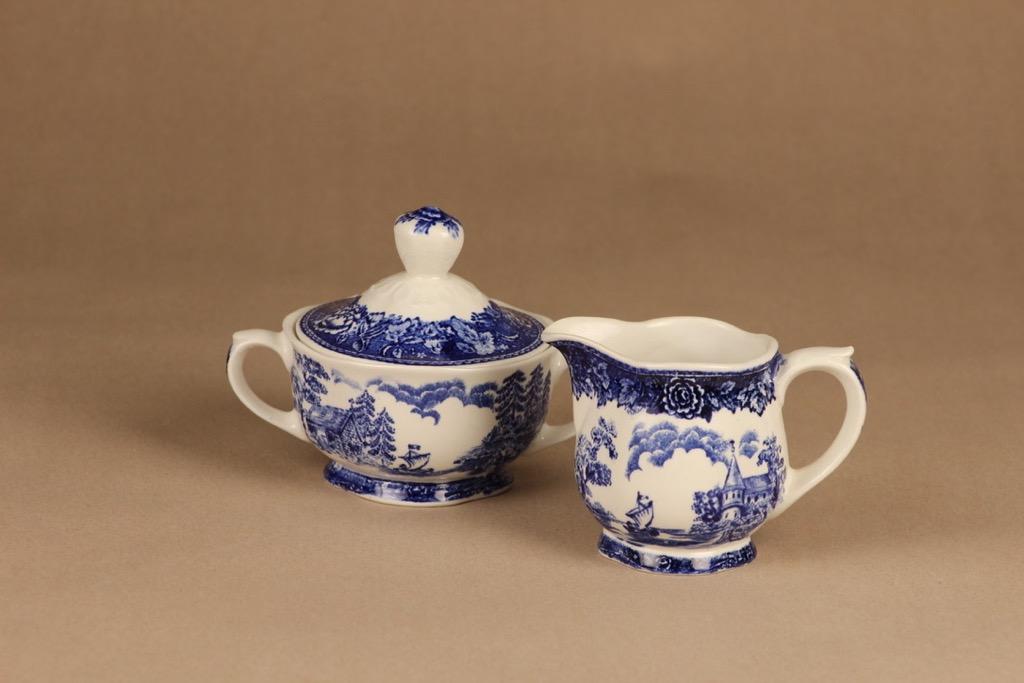 Arabia Maisema sugar bowl and creamer