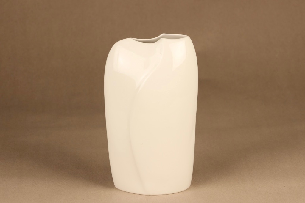 Arabia Lumina maljakko, valkoinen, suunnittelija Pauli Partanen, moderni