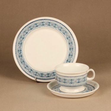 Arabia ND 3 teekuppi ja lautaset(2), siniharmaa, suunnittelija ,