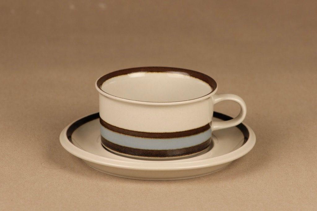 Arabia Suvanto teekuppi, raitakoriste, suunnittelija Ulla Procope, raitakoriste