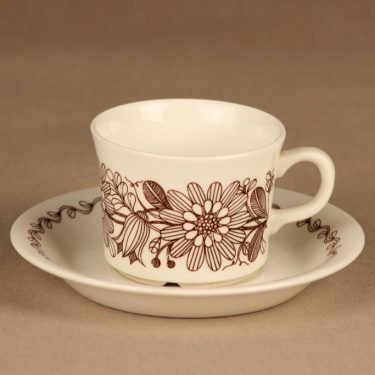 Arabia Elina kahvikuppi, ruskea, suunnittelija Esteri Tomula, kukka