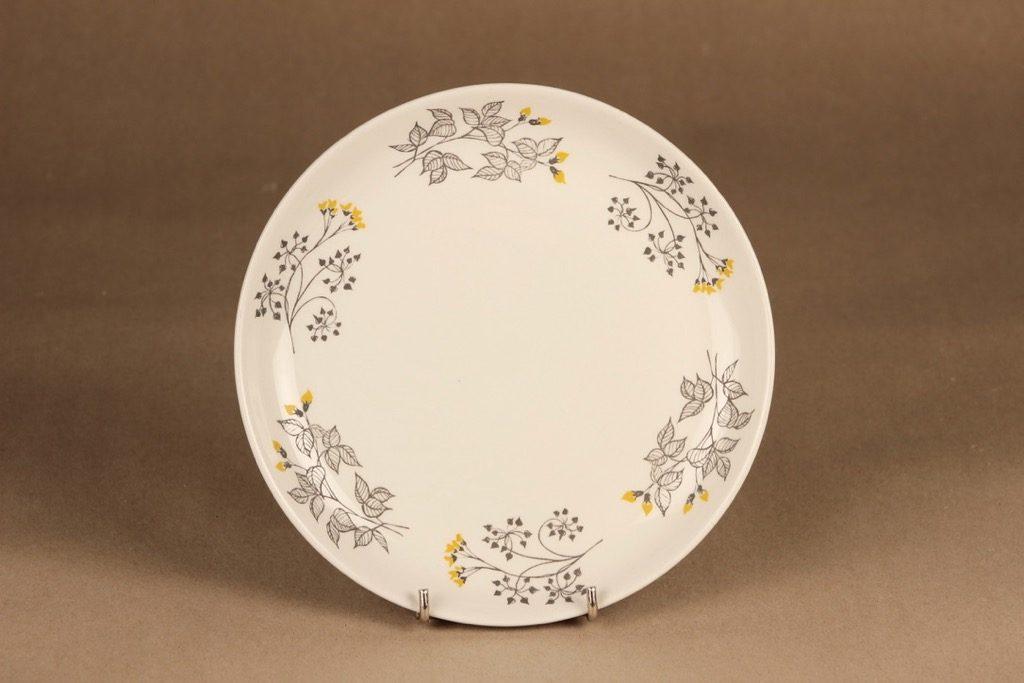 Arabia Hilkka salaattilautanen, musta, keltainen, suunnittelija Esteri Tomula, kukka