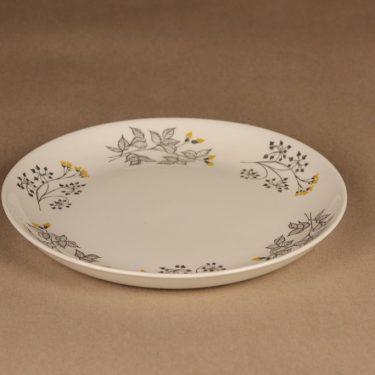 Arabia Hilkka salaattilautanen, musta, keltainen, suunnittelija Esteri Tomula, kukka kuva 2