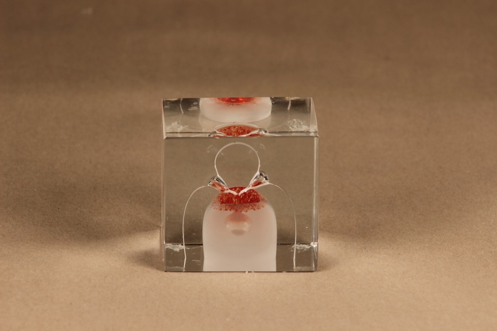 Nuutajärvi annual art glass cube 1985 designer Oiva Toikka